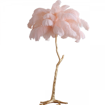 PEACOCK GLAMOR FEATHER FLOOR LAMP WITH GOLD STAND