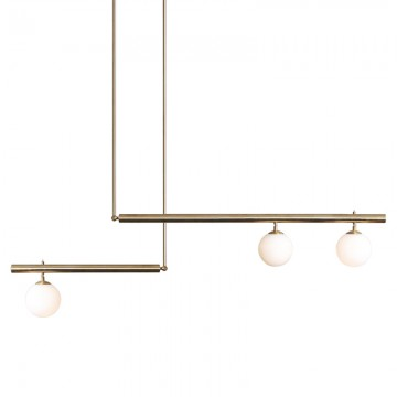 ALLURE HIGH FINESSE LINEAR STAINLESS STEEL WITH FROSTED GLASS GLOBES HANGING LIGHT (BLACK/ GOLD)