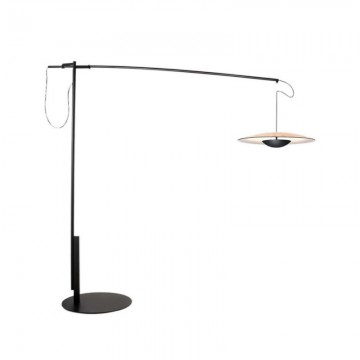 BRYCEN ULTRA THIN STYLISH SHADE FAR REACH FISHING FLOOR LAMP (BLACK/ WOOD)