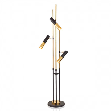 CRAFTSMEN TRIPLE-SPOTLIGHT WITH LINEAR ALUMINIUM PIPES IN BLACK & GOLD