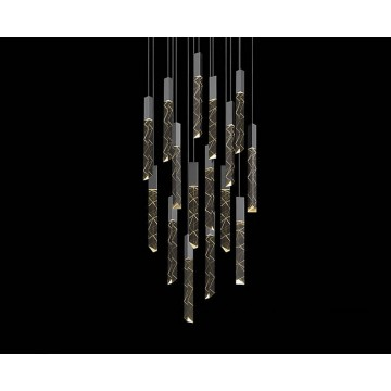 INES ADJUSTABLE MULTIPLE CRYSTAL GLASS LUXURY CASCADING HIGH CEILING STAIRCASE LIGHT