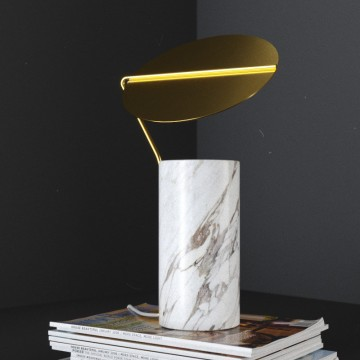 VENUS ADJUSTABLE GOLD SHADE MARBLE CONICAL BASE TABLE LAMP