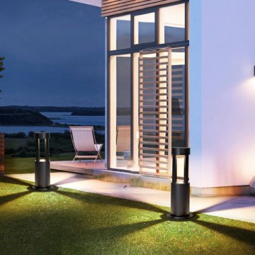 JOSE OUTDOOR POST-MODERN BLACK BOLLARD (SPIKE/ SURFACE)