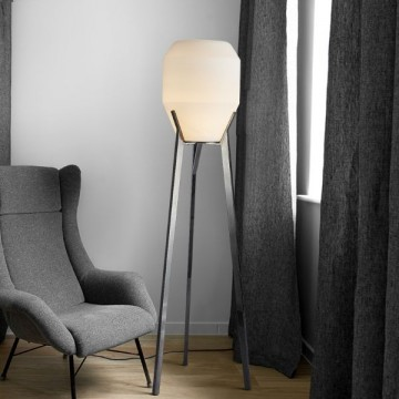 KARL MIRROR PLATED STAINLESS STEEL TRIPOD & GLASS SHADE FLOOR LAMP