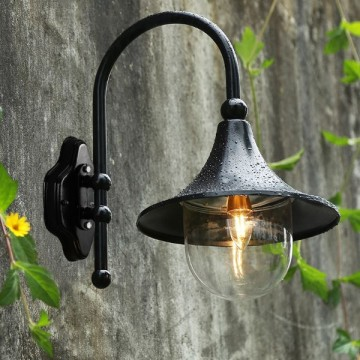 LEYLA OUTDOOR EUROPEAN VILLA GARDEN WALL LAMP (BLACK/ COPPER)