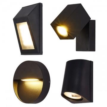 MAZET OUTDOOR MODERN CLASSY BLACK WALL LIGHTS (4 DESIGNS)