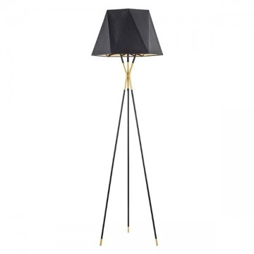SVEA THREE-LEGGED WITH JAGGED EGDE LAMPSHADE BLACK FLOOR LAMP