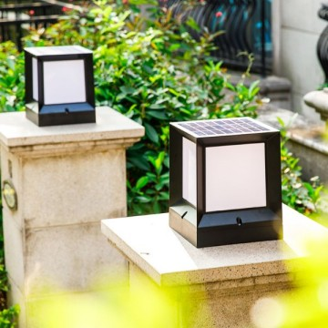 YVES SOLAR POWERED CUBE SQUARE BOLLARD WITH SCRATCH-PROOF DIFFUSER (4 SIZES)