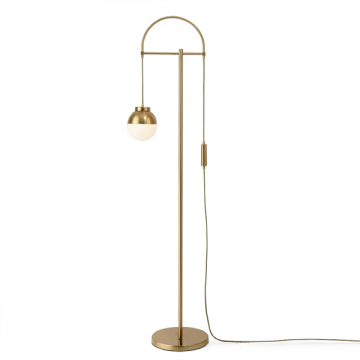 ELENA ELEGANT DESIGNER DANGLING FROSTED GLOBE GLASS GOLDEN FLOOR LAMP
