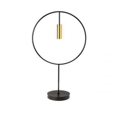 REGAL MODERN ROUND BLACK & GOLD MINI DOWNTHROW SPOTLIGHT TABLE LAMP