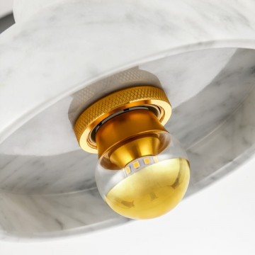 CAMOMILE GOLD TINTED LIGHT BULB HANGING MARBLE STONE PENDANT