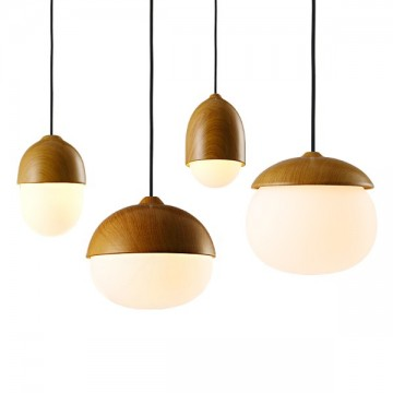 CEDRUS MUJI-INSPIRED WOOD FINISH FROSTED GLASS PENDANT LIGHTS
