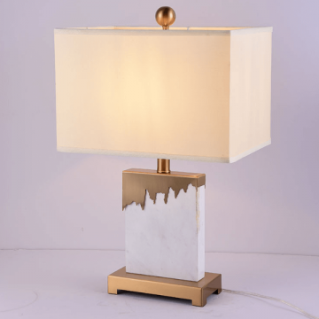 ALEXIA DIVINE WHITE MARBLE FABRIC LAMPSHADE TABLE LAMP