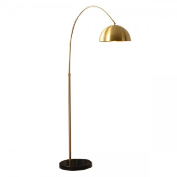 EXOS GOLD OVERHEAD CAP & BLACK MARBLE BASE FLOOR LAMP