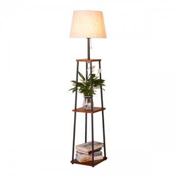 SILVIA MULTI-FUNCTIONAL WOODEN SHELF FLOOR LAMP