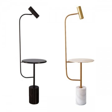 OCEA MARBLE BASE & TABLETOP SPOTLIGHT FLOOR LAMP (BLACK/ GOLD)