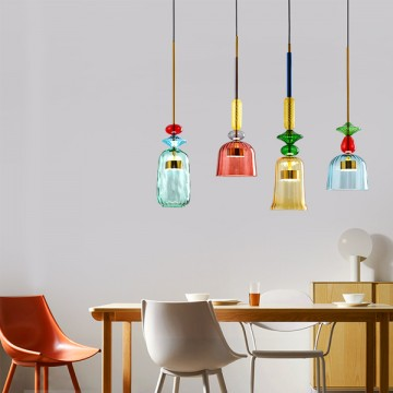 ARCLIGHT COLOURFUL HAND-BLOWN GLASS CAFÉ BAR COUNTER HANGING PENDANT